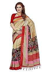 Ishin Bhagalpuri Art Silk Beige Printed Party Wear Wedding Wear Casual Wear Festive Wear New Collection Latest Design Trendy Womens Saree/Sari With Tassels