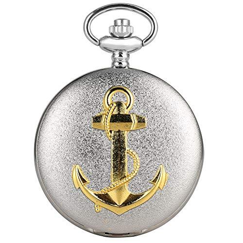 Retro Taschenuhr für Herren, Gold Schiffe Anker Silber Quarz Taschenuhren kostbare Anhänger Uhr Geschenk für Jungen