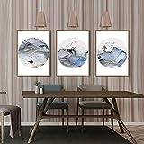 jjshily Quadri Moderni Pittura Decorazione Soggiorno Tripla Combinazione Minimalista Moderno Stile Cinese Astratto Tripla Luce Pittura Decorativa Senza Telaio-30X40