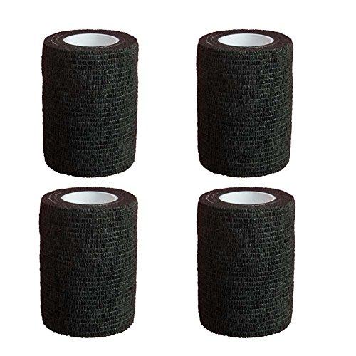 YoGou 4 Rollen Selbsthaftende cohesive Bandage Haftbandage Athletic Tape Elastischer Fixierverband Verband elastische Binde 7.5 cm x 4,5 m (schwarz)