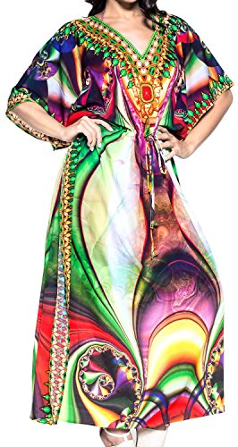 LA LEELA Damen Überdimensional Maxi Kimono Kaftan Tunika Kaftan Damen Top Freie Größe StrandKleider In 11 verschiedenen Farben Dunkellila