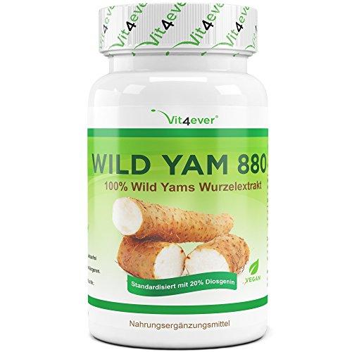 Wild Yam Wurzel Extrakt - 70 vegane Kapseln - 20% Diosgenin - 880 mg pro Tagesportion (2 Kapseln) - Laborgeprüft - 100% Mexican Wild Yam - Hochdosiert & ohne Zusatzstoffe- Yamswurzel - Wechseljahre & Menopause - Vit4ever … (Aus Natürlichen Progesteron-creme)