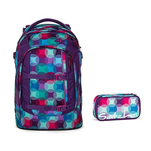 Satch, set per la scuola composto da zaino Pack Hurly Pearly e astuccio, 2 pezzi, multicolore