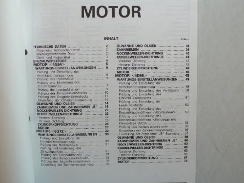 Mitsubishi Pajero - Werkstatt-Anleitung – Motoren 4G64, 4G72, 4D56 - Original