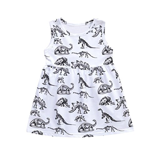 Gaddrt Toddler Infant Baby Girls Cartoon Dinosaur Print Sun Dresses Clothes Outfits