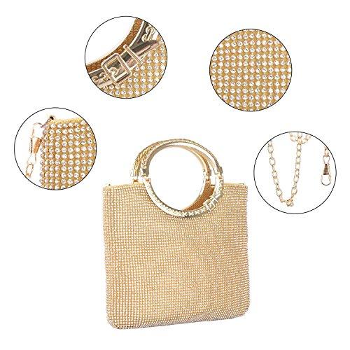 Baglamor Damen Handtasche Kristall Strass Tasche Abendtaschen Hochzeit Clutch Geldbörse Gold