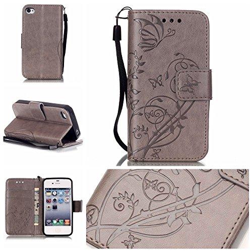JIALUN-étui pour téléphone Avec slot pour carte, Lanyard, Pressure Beautiful Pattern Fashion Open Cell Phone Shell pour IPhone 4 4S ( Color : Black , Size : IPhone 4S ) Gray