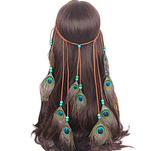 LONGBLE Indianer Feder Stirnband kostüm Damen Boho Haarschmuck mit Handgewebte Quasten Pfauenfeder Holzperle Einstellbar Haarband Kopfschmuck ()