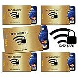 EDEL-GOLD-DESIGN - Rfid Schutzhüllen 5 Stück - Technopoint / Rfid Kreditkartenhülle / Nfc Schutz / EC Karte / Personalausweis Hülle / 100% Blocking / Funk Chip Schutz