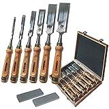 Stemmeisen Stechbeitel Set für Holz | 6 Beitel + 2 Abziehsteine + Koffer von...