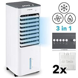 TROTEC Climatizador Portátil Frío PAE 21 / Ventilador de Torre / 3 en 1: Refrigeración, Ventilación y Humidificación/Climatizador Evaporativo sin Tubo/Silencioso / 50 W/Blanco