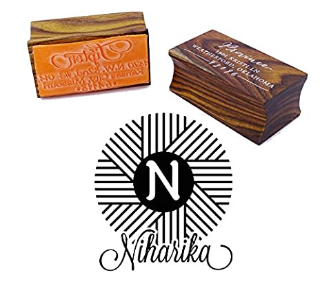 Personalized Wood Mounted Rubber Logo Stamp Custom Round Monogram Stamp Engagement Gift
