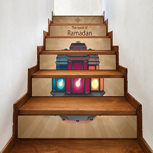 TianranRT★ Autoadesivi creativi della scala creativa di Ramadan della scala creativa musulmana del pavimento Ramadan musulmano benedice adesivi creativi per scale Adesivi murali personalizzati con