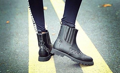 &ZHOU femmina adulti 'Boots autunno e l'inverno stivali brevi Martin stivali Cavaliere stivali A32 Black