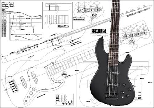 Plan der Fender Jazz Bass 5 Saiten - Full-Scale Print