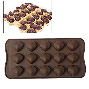 Plaque de 15 moules silicone coquillage fritures en chocolat marron