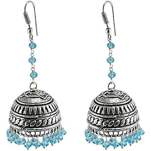 Finitura ossidato antico stile tradizionale perline con cristalli topazio jhumka-blue jewellery-silvesto Jaipur India pg-25647