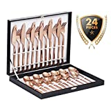 Velaze Juego de Cubiertos Set 24 Piezas de Acero Inoxidable 18/10 Vajilla para 6 Personas, 6 Cuchillo de Mesa, 6 Tenedor, 6 Cuchara, 6 Tenedor Postre - Oro Rosa (E24)