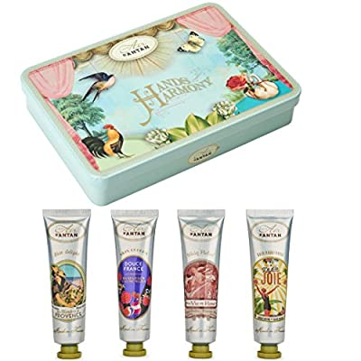 French Vintage HANDS and NAILS CREAMS SET - An adorable box offering 4 delicately scented and deeply moisturizing hands creams - A perfect gift for her