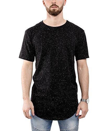 Phoenix Oversize Round T-Shirt Herren Longshirt Long Tee - Langes Shirt S,M,L,XL Schwarz-Melliert