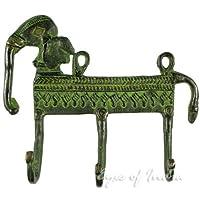 """Eyes of India - 5"""" Brass Elephant Decorative Animal Wall Hooks Hangers Coat Rack Antique Bronze Indian Bohemian Boho"""
