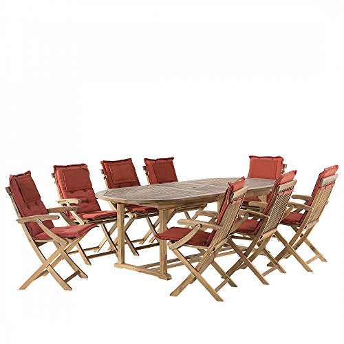 Gartenmöbel - ausziehbarer Gartentisch + 8 Stühle mit Terracotta Auflagen - JAVA