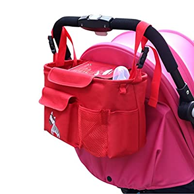 NuoYo Bocideal - Cochecito de Bolsa de Bebé Organizador, poner Buggy Cesta Botella Bolsas, Baby Carriage and Hanging Bag for the children.( Rojo/28 * 12 * 18 cm)