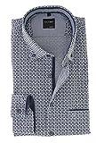 OLYMP Herren Casual Freizeithemd mit Button Down Kragen Comfort Stretch 100% Baumwolle Marine Blau mit Muster, Grösse:S