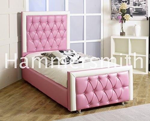 Letto in pelle rosa per bambine letto 1,2m matrimoniale 1,5m King Diamond letto singolo 0,9m, Red, 4FT6