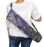 #1: Jaipur Classic Cotton Hand Barmeri Printed Yoga Mat Cover with Strap, Blue color