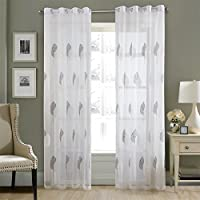 Dreaming Casa Embroidery Leaves Sheer Curtains White Grey Semi Transparent Voile Curtains Eyelet Drapes for Living Room Bedroom 90 x 90 Inch 2 Panels