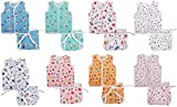 Lucky Star New Born Baby Clothing Set of 8 Baby Sleeveless Jhabla/Shirt with 8 Nappies/Langot/Cloth Diapers (0-6 Months)