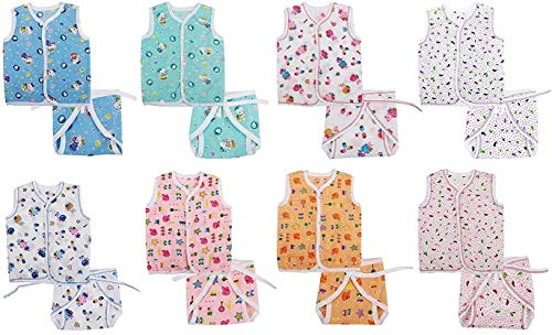 Lucky Star Baby's Cotton Sleeveless Jhabla with 8 Nappies (Multicolour, 0-4 Months ) -Clothing Set of 8