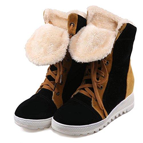 Le signore Taglia larga Femmina scarpa Combattere il colore Pizzo anteriore stivali da neve Pendenza con Alto aiuto stivali Black
