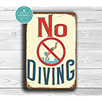 Deca Moda NO DIVING SIGN, Pool Signs, No Diving Sign, Vintage style No Diving Signs, Swimming pool sign