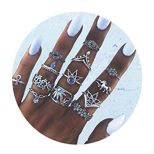 Toporchid Vintage Midi Ringe Fingerring-Set für Damen Mädchen, Frauen Midi Ring Nagel Finger Band Boho Ringe Finger Tip Ring Schmuck, 13 Stück