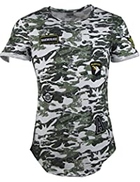 T-Shirt - Camouflage Look - Army Style - Mit Patches - grün
