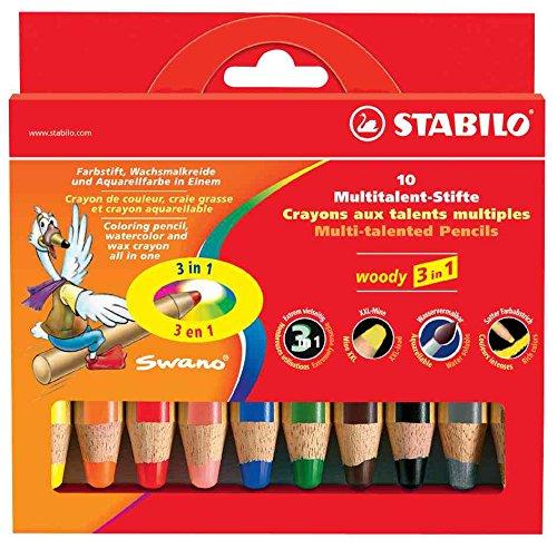 Preisvergleich Produktbild STABILO von 3Packungen 10Bleistift Woody 3in 1Extra Large mit Spitzer