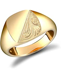 Jewelco London Men's Solid 9ct Yellow Gold Diamond Cut Square Cushion Signet Ring