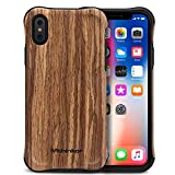 Mthinkor Coque iPhone XS, Coque iPhone X Heavy Duty Drop Design Antichoc Cas de Grain...