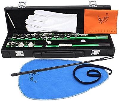XIE@16 hoyos C flauta instrumento de viento flauta verde está equipado con una varilla de limpieza, ropa, accesorios de grasa y un destornillador caja dedicada