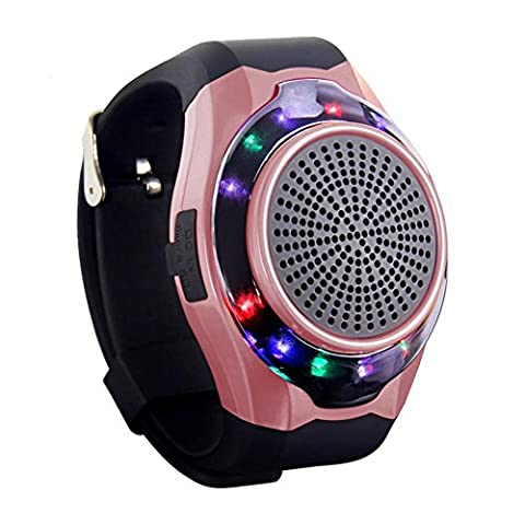 Joyeer Smart Watch Speaker Dazzle Light avec sept couleurs Remote Camera Sans fil Stéréo Subwoofer FM Radio Music TF Card Playing Hands-free Call Anti-lost Alarm Sport Watch , rose gold