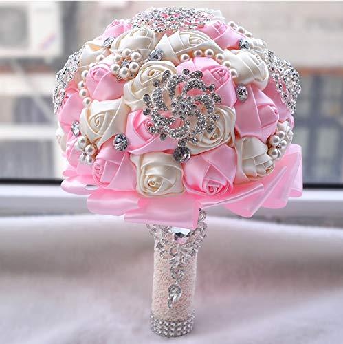 Baipin Blume Hochzeit Bouquet mit Band Handgemachte Künstliche Kristalle Griff Braut