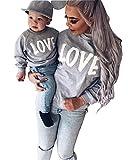 Minetom Maman Et Bébé Enfants Imprimé Col Rond Manches Longues Sweat-shirt Tops Mignon Fille Garçon Pullover Vêtements De Famille Gris + Blanc 100 (Enfant)
