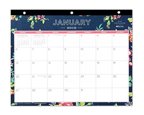 Day Designer for Blue Sky 2019 Monats-Schreibtischunterlage, 3-fach gelocht, 28 x 22 cm, Peyton Navy