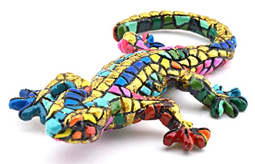 Art Escudellers Decorative Figure SALAMANDRA in Resin Mosaic Hand-painted with the Modernist Technique TRENCADIS, in the Gaudí Style. 6 cm x 10,5 cm x 2 cm