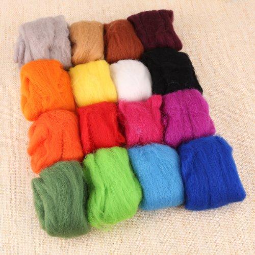 16 warme Farben Filzwolle Filz Wolle basteln & Filznadeln trocken Filzen Trockenfilzen Nadelfilzen Nadelhalter Starterset