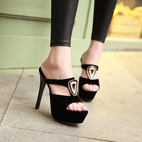 stiletto sexy del club di notte12cmTacchi altissimi/Spessa piattaforma moda Lady pantofole/ una donna di pantofole di carattere A