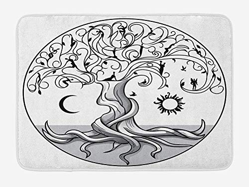 ZKHTO Sun and Moon Bath Mat, Ancient Symbol of Life Tree with Swirling Branches and Angels, Plush Bathroom Decor Mat with Non Slip Backing, 23.6 W X 15.7 W Inches, Black White and Pale Grey (Wrestling With Dark Angels)