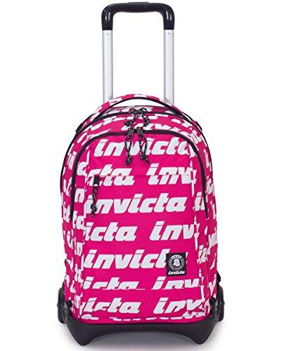 Trolley invicta - plug lettering - rosa - zaino sganciabile e lavabile - scuola e viaggio 35 lt